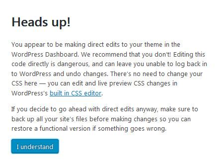 Theme Editor Warning