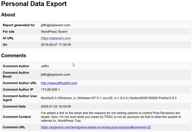 PersonalDataExport WordPress 4.9.6 Beta 1 Adds Tools for GDPR Compliance design tips