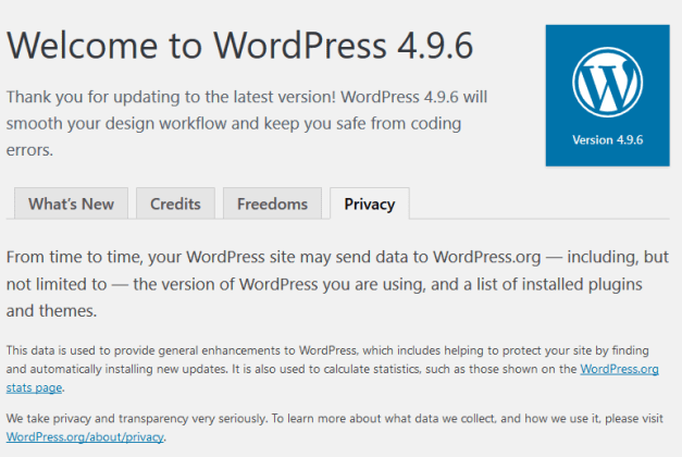 WordPress496PrivacyInfo WordPress 4.9.6 Beta 1 Adds Tools for GDPR Compliance design tips