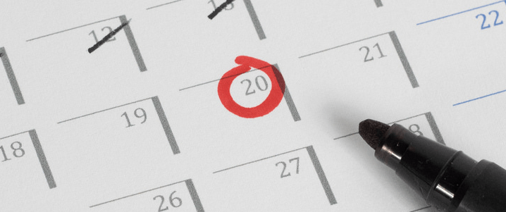A calendar with a circled day