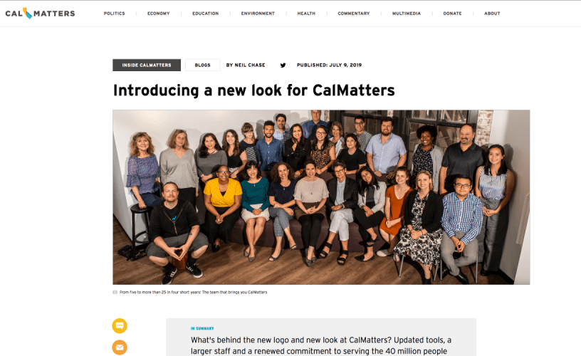 The News Project Launches Its First Customer Site CALmatters