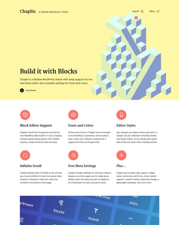 chaplin Anders Norén Release Free Chaplin Theme Designed for Block Editor, Theme Authors Discuss Better Ways to Promote Truly Free Themes design tips  News|Themes|free wordpress themes