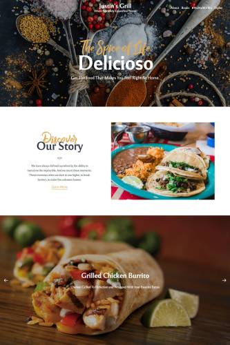 Custom restaurant-style page created with the Rosa 2 theme.