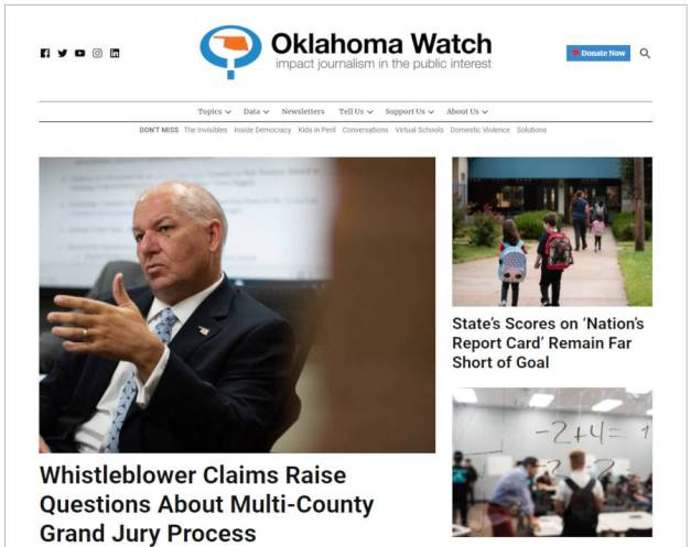 Screenshot of the Oklahoma Watch website's homepage, featuring local news stories.