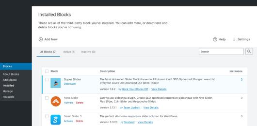Screenshot of the Installed Blocks screen prototype for WordPress.