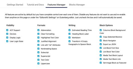 Screenshot of the EditorsKit plugin settings.