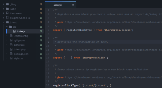 Screenshot of a code editor that showcases the initial code for creating a block plugin.