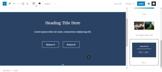 Screenshot of a custom block pattern in the Gutenberg block editor.