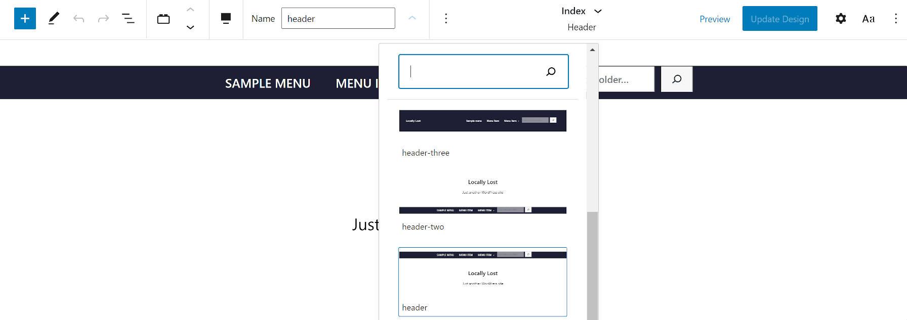 Seleção do template do cabeçalho do tema do WordPress Armando.