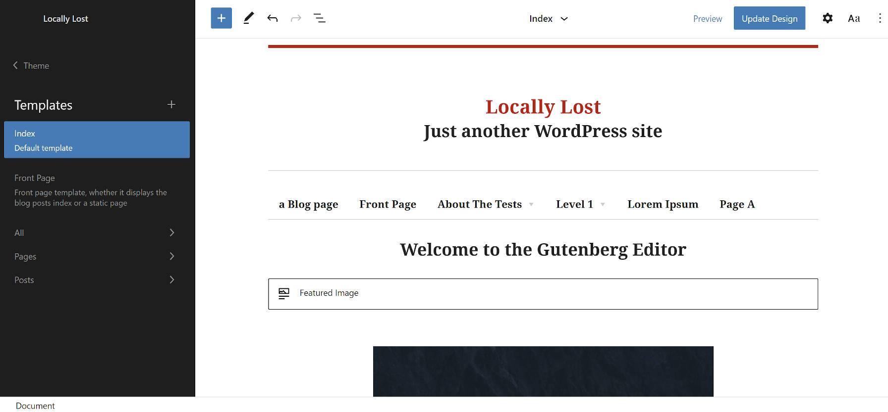 Tema Bosco WordPress baseado em blocos no editor do site.