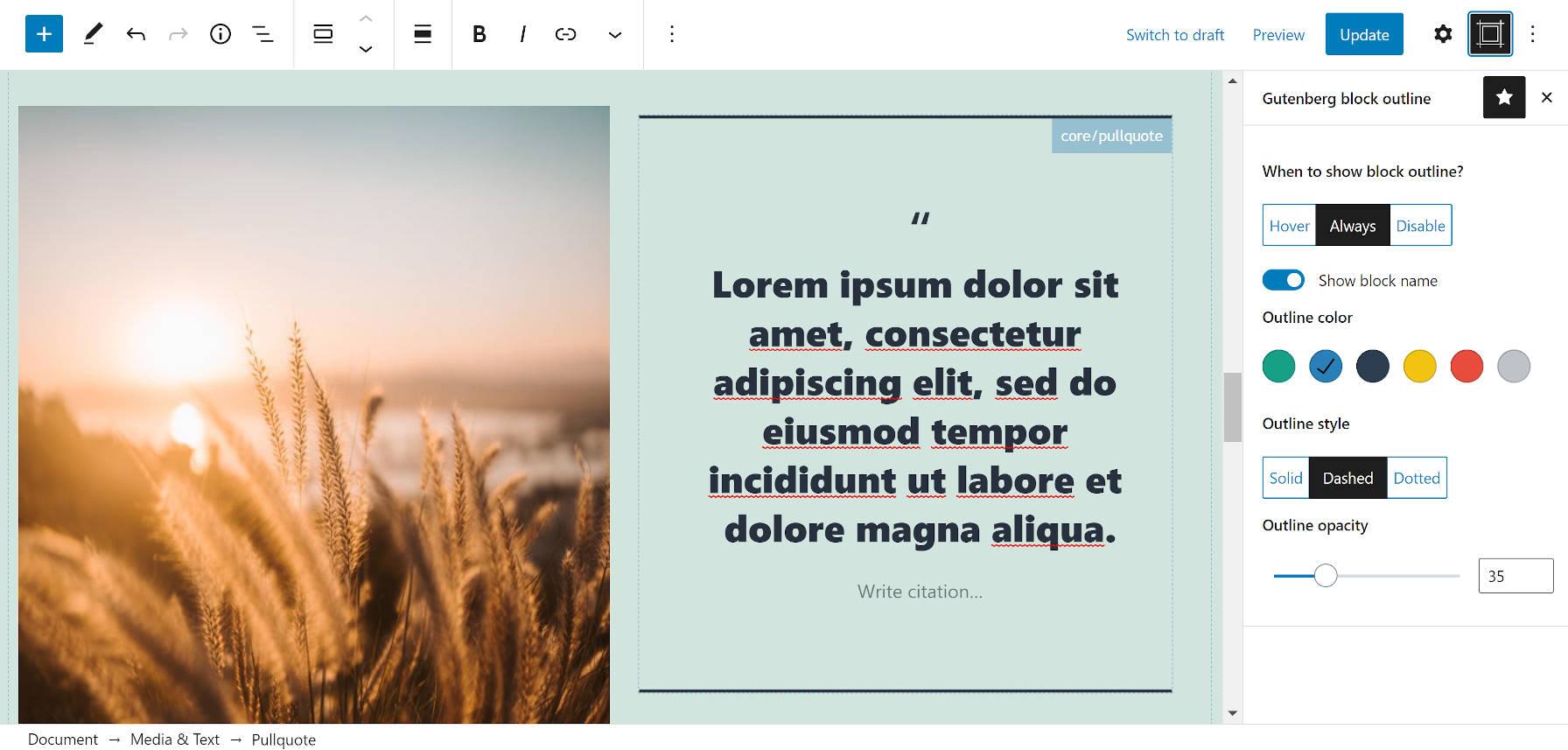 O plugin Editor Block Outline na barra lateral do editor de blocos.