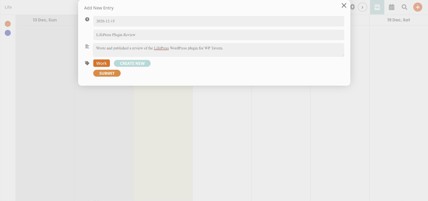 Adicionar uma nova entrada de calendário com o plugin LifePress WordPress.