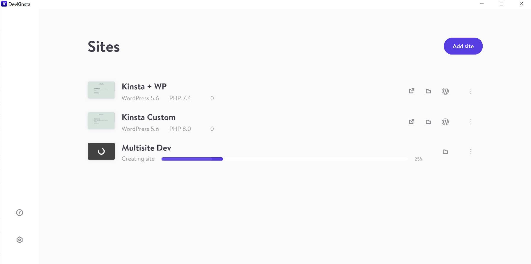 Tela de gerenciamento do site DevKinsta, que lista todos os sites e tem um botão para adicionar um novo site.
