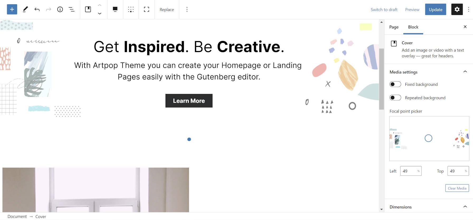 Personalizando a página inicial do tema Artpop WordPress no editor de blocos.