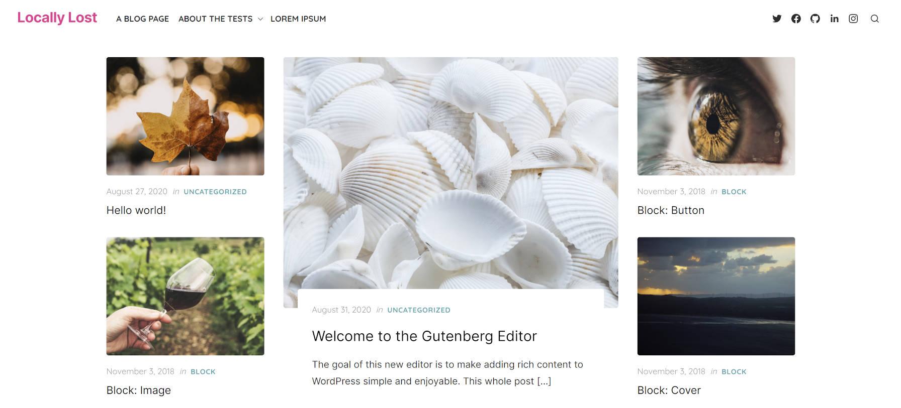 Página inicial alinhada à grade lista de postagens para o tema Artpop WordPress.