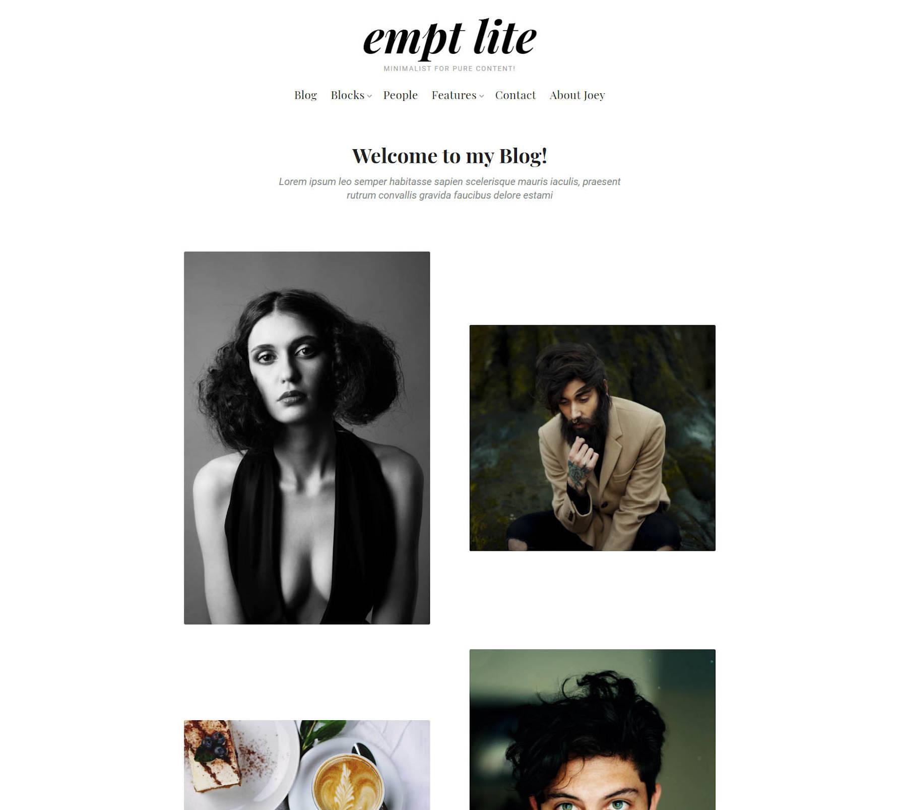 Layout de blog no estilo galeria para o tema Empt Lite.