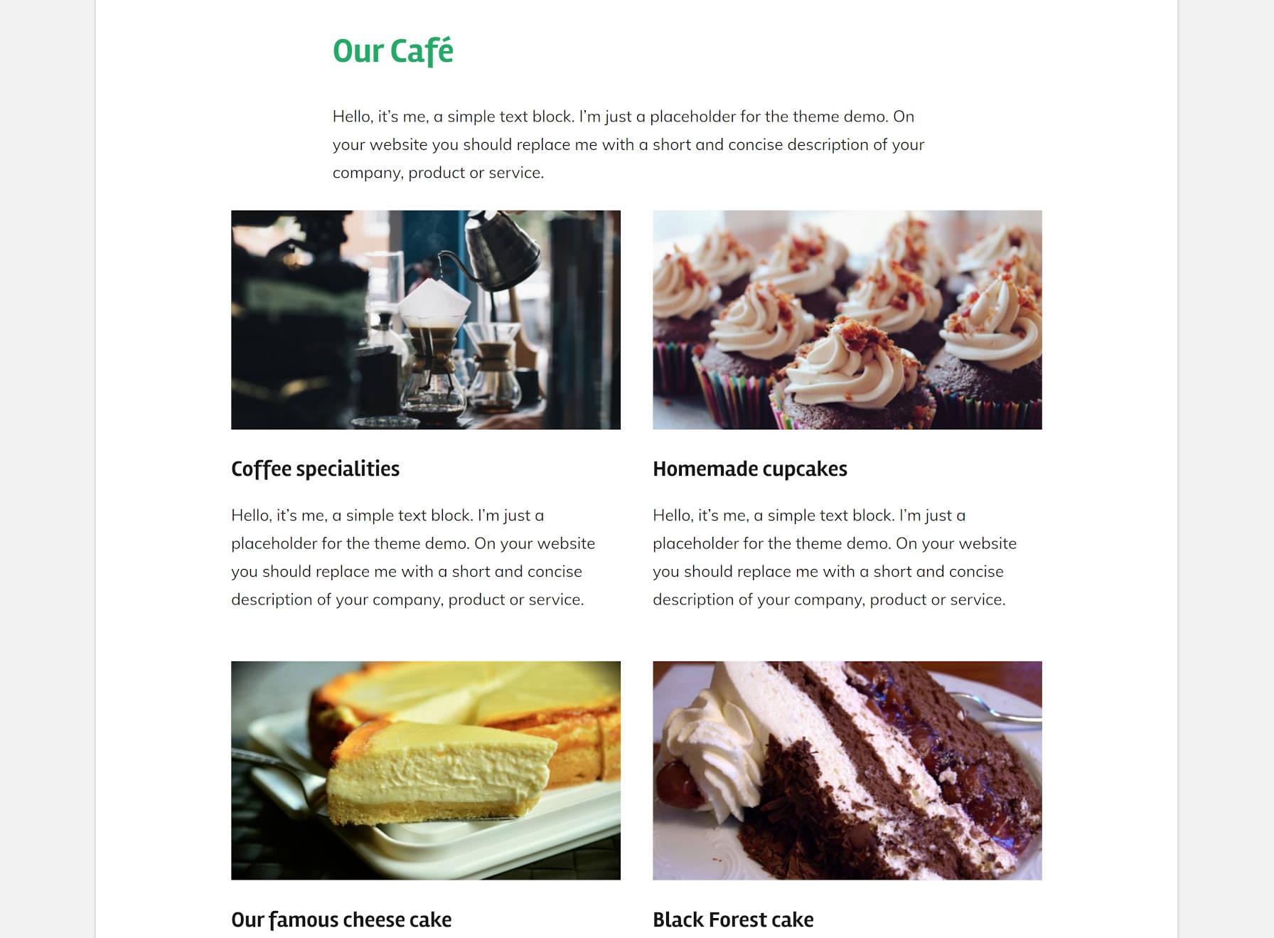 Demonstração do café mostrando itens do menu de comida do tema GT Basic.