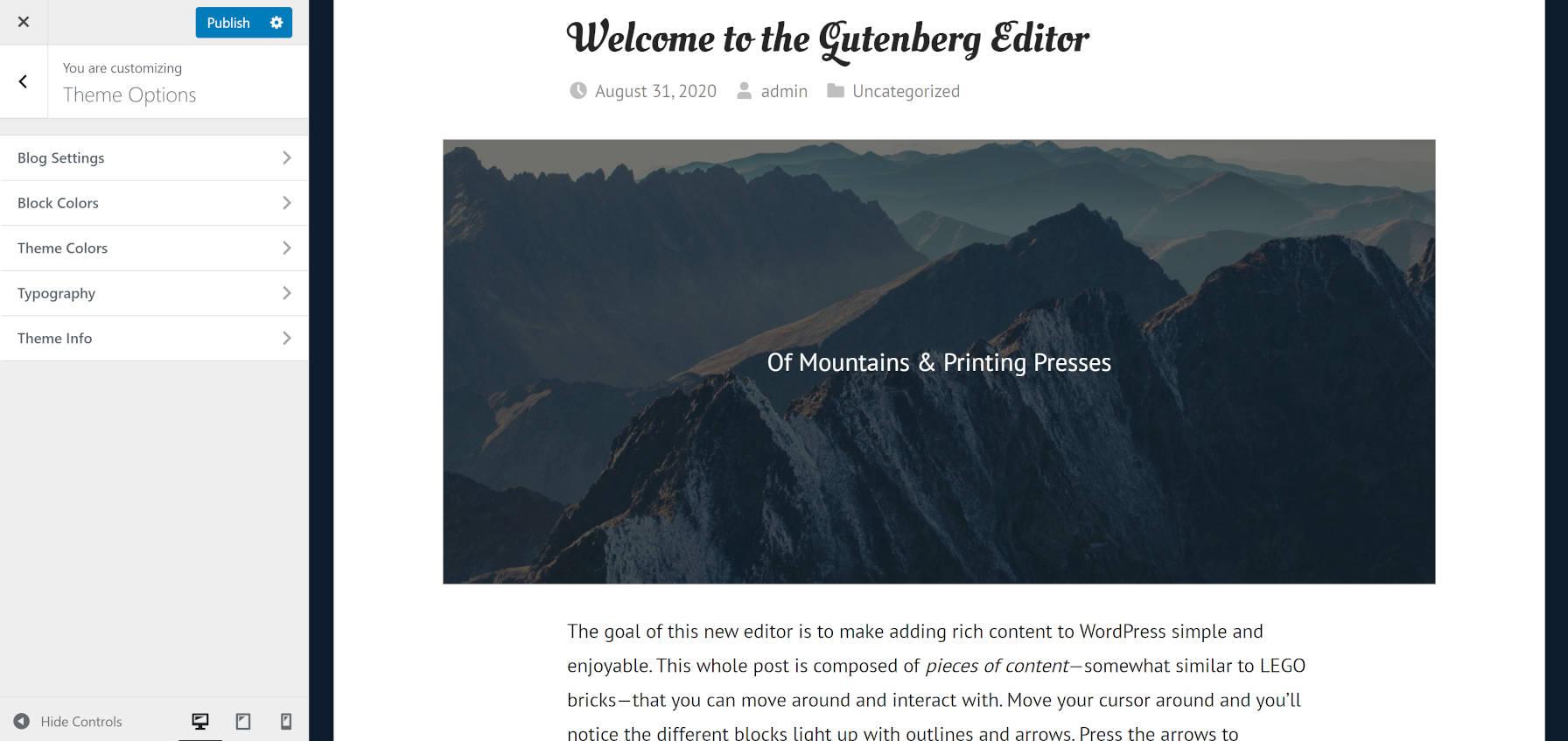 Tipografia e personalizações de cores do tema GT Basic WordPress por meio do personalizador.