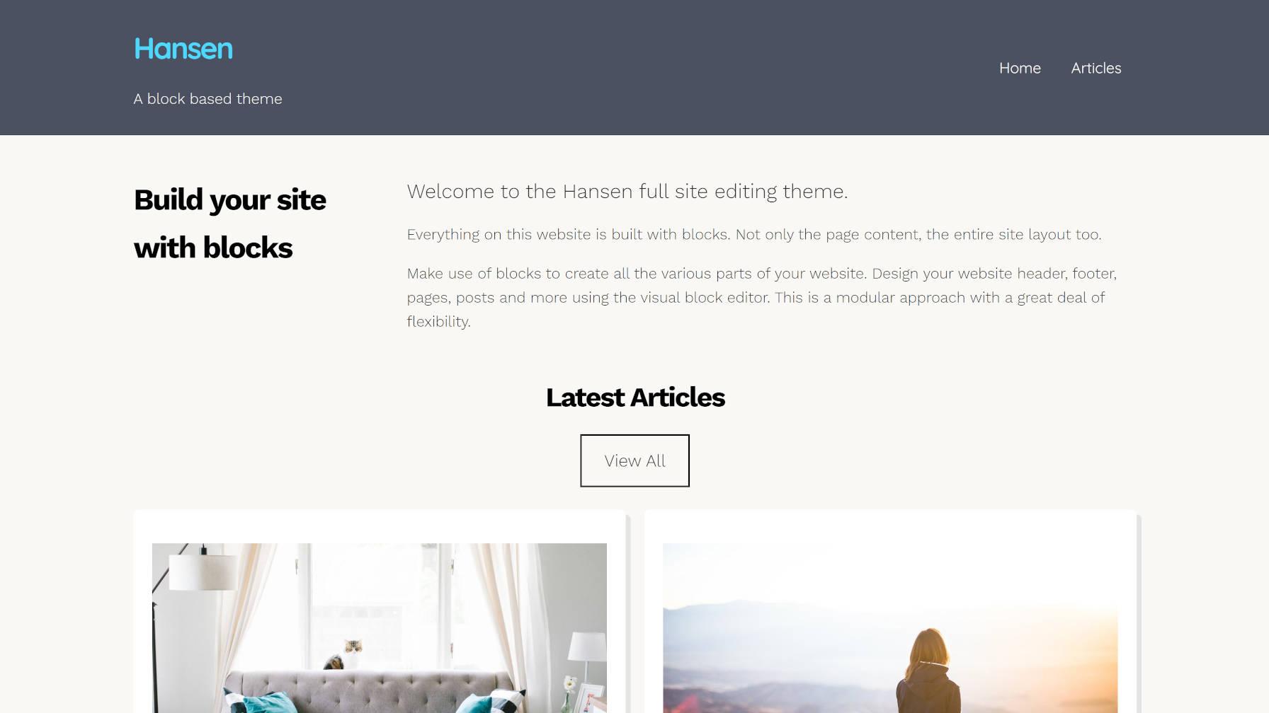 Build a Full WordPress Site via Block Patterns With the Hansen Theme