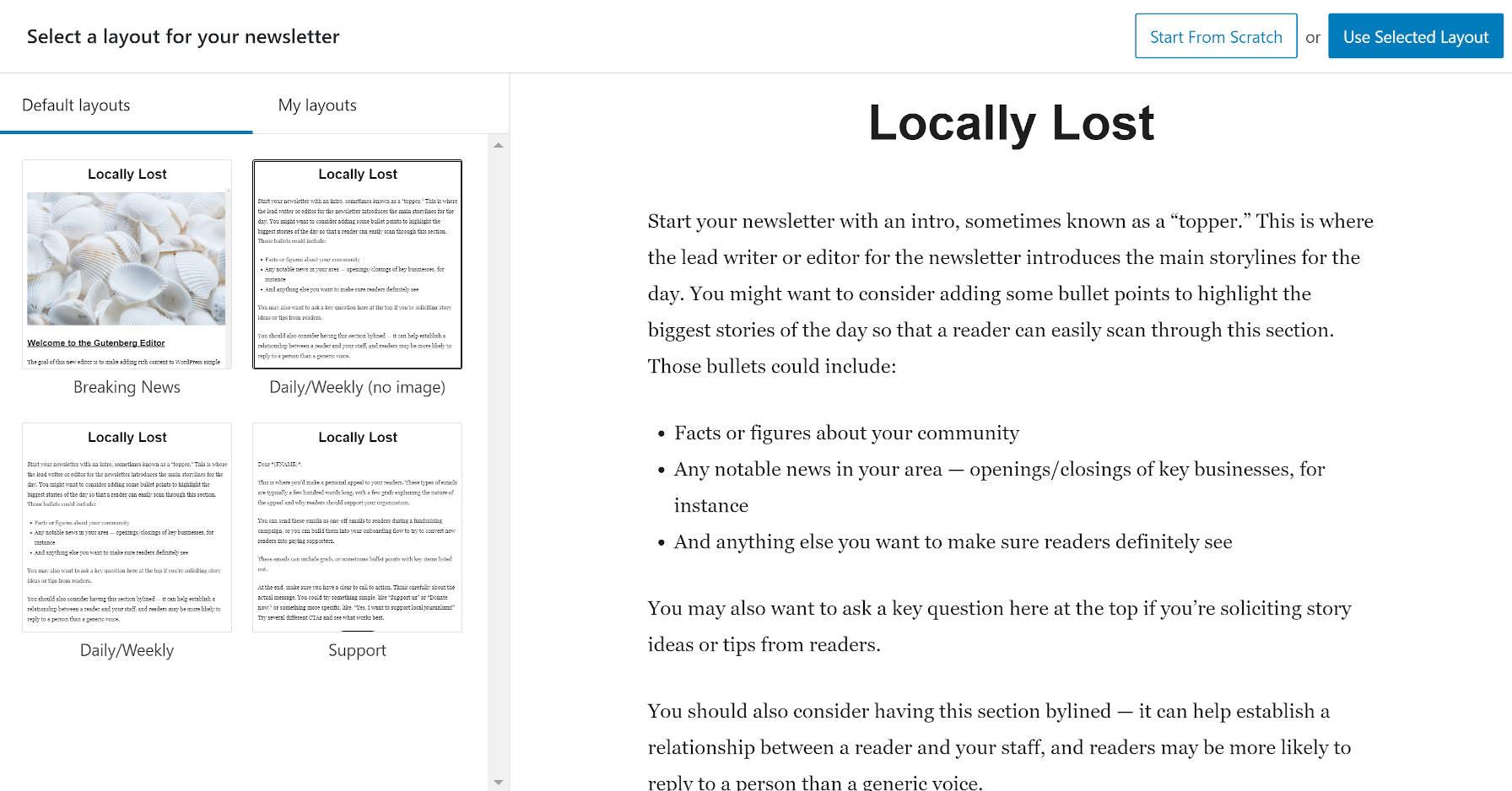 Selecionando um layout no Newspack Newsletters adiciona uma nova tela.