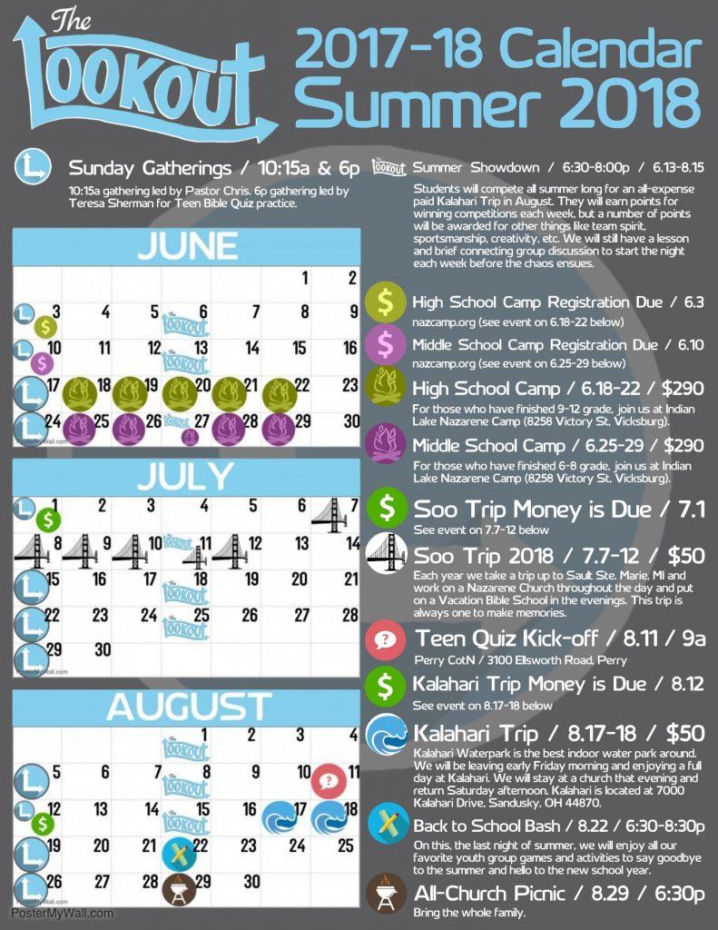The Lookout Calendar - Summer 2018