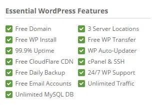 Essential wordpress features in siteground