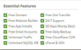 Shared hosting essential features in siteground