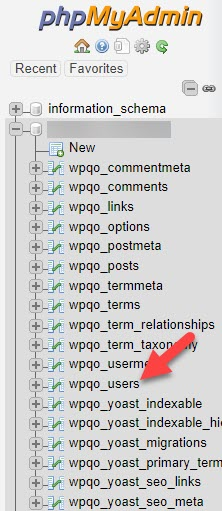 Choose Database in phpMyAdmin