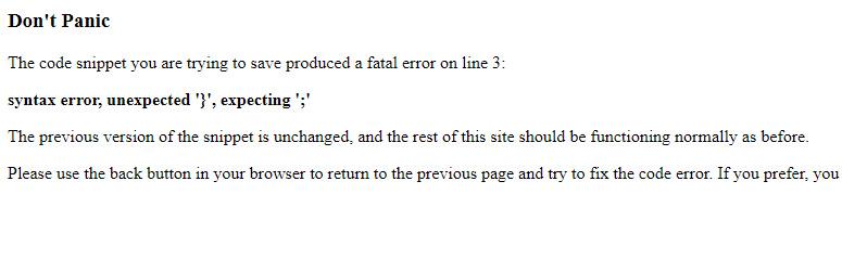 Code Snippets Plugin Error Message