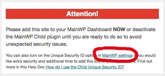 Wordpress wpMain Child Message