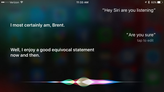 The iPhone 6s is listening for the Hey Siri command, most of the time