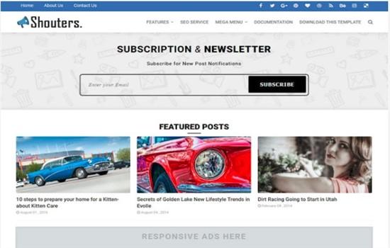 Dergiler, haberler, editoryal ve blog teması.