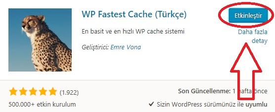 WP Fastest Cache Eklentisi