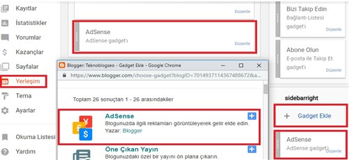 Blogger Google Adsense gadget