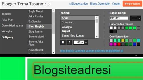 Blog Tema Düzen ayarları
