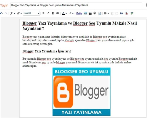 Blogger Yazı Yayınlama