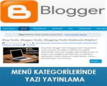 Blogger Yazıları Kategoride Yayınlama