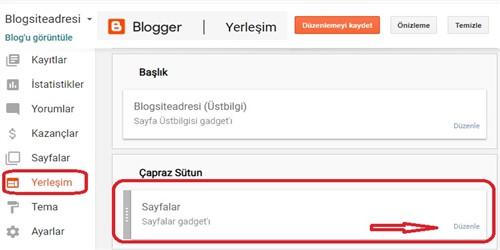 Blogger Yerleşim alanı