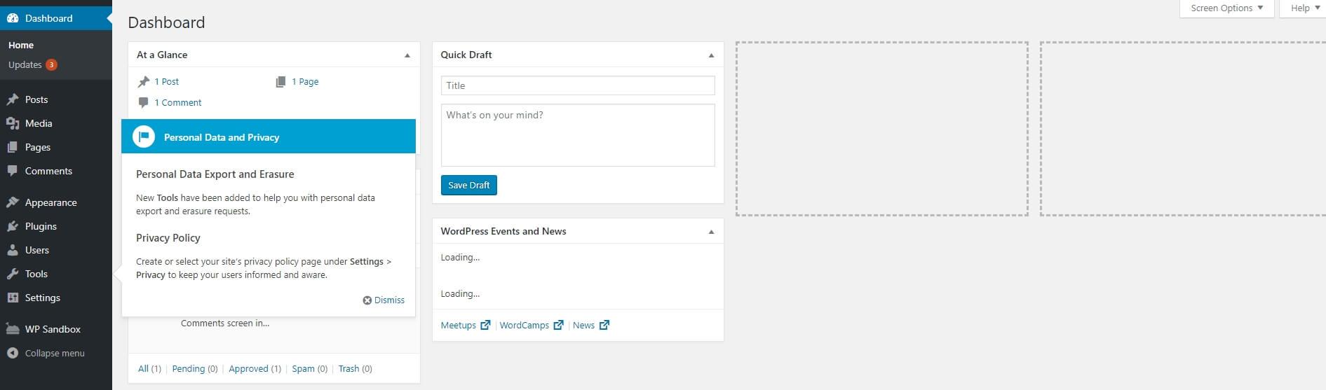 The WordPress dashboard.