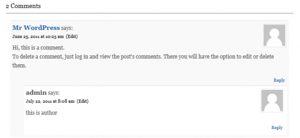 default author comments