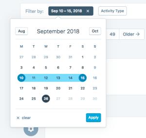 wordpress activity log filter-date