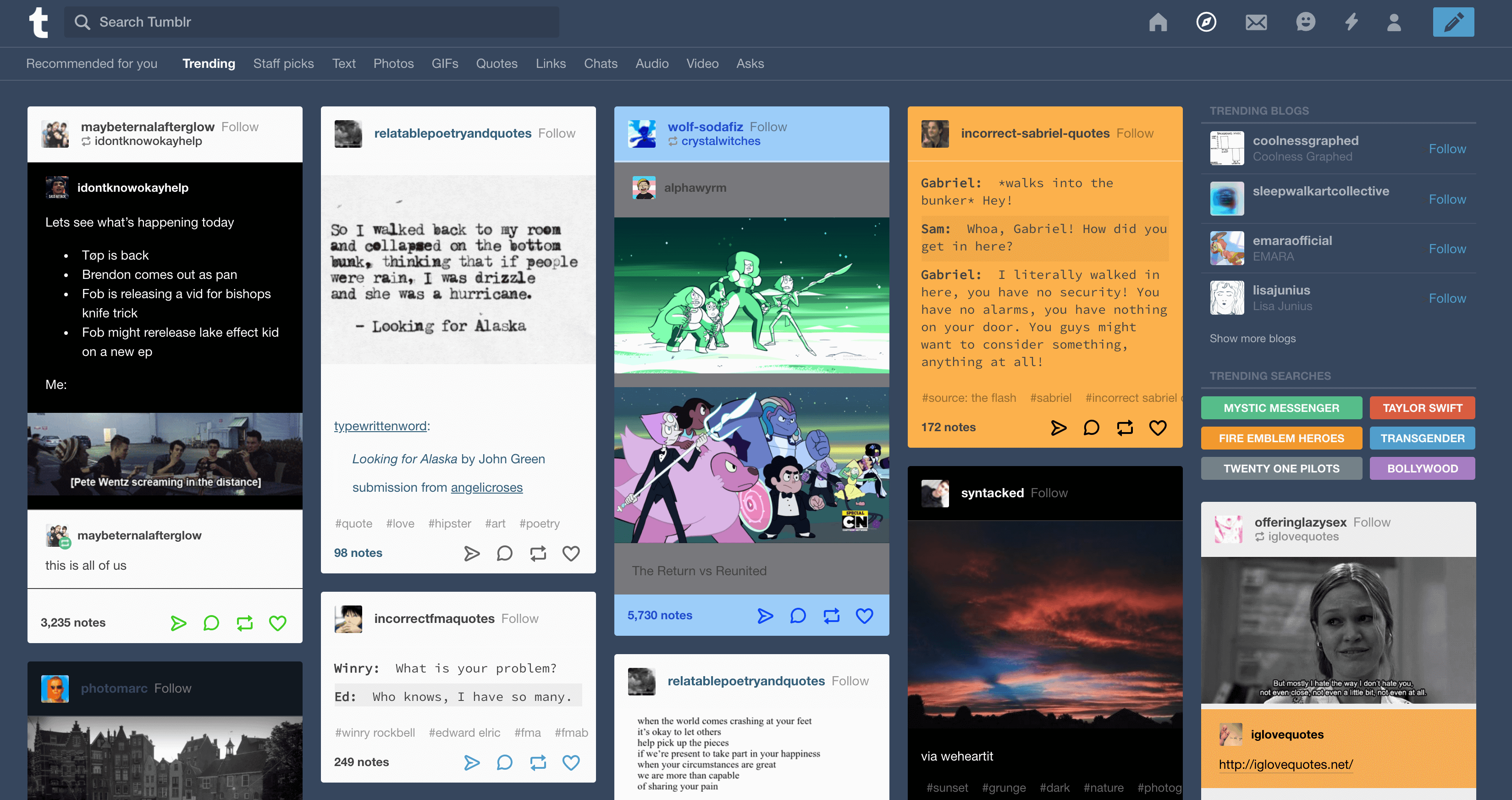 The Trending posts in Tumblr.