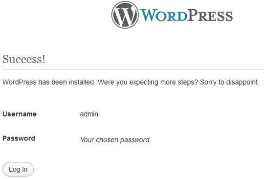 Wordpress successfully installed