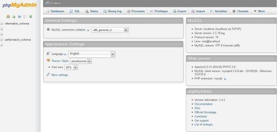 phpMyAdmin in WampServer