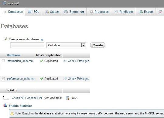 Databases in phpMyAdmiin