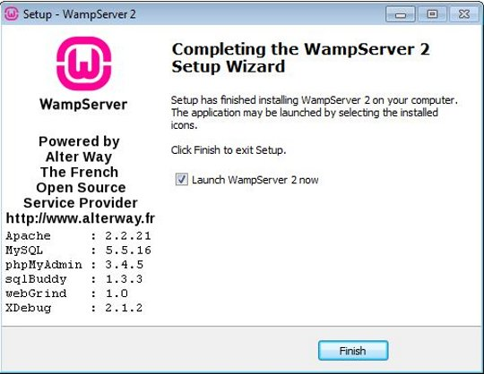 Install WampServer completed