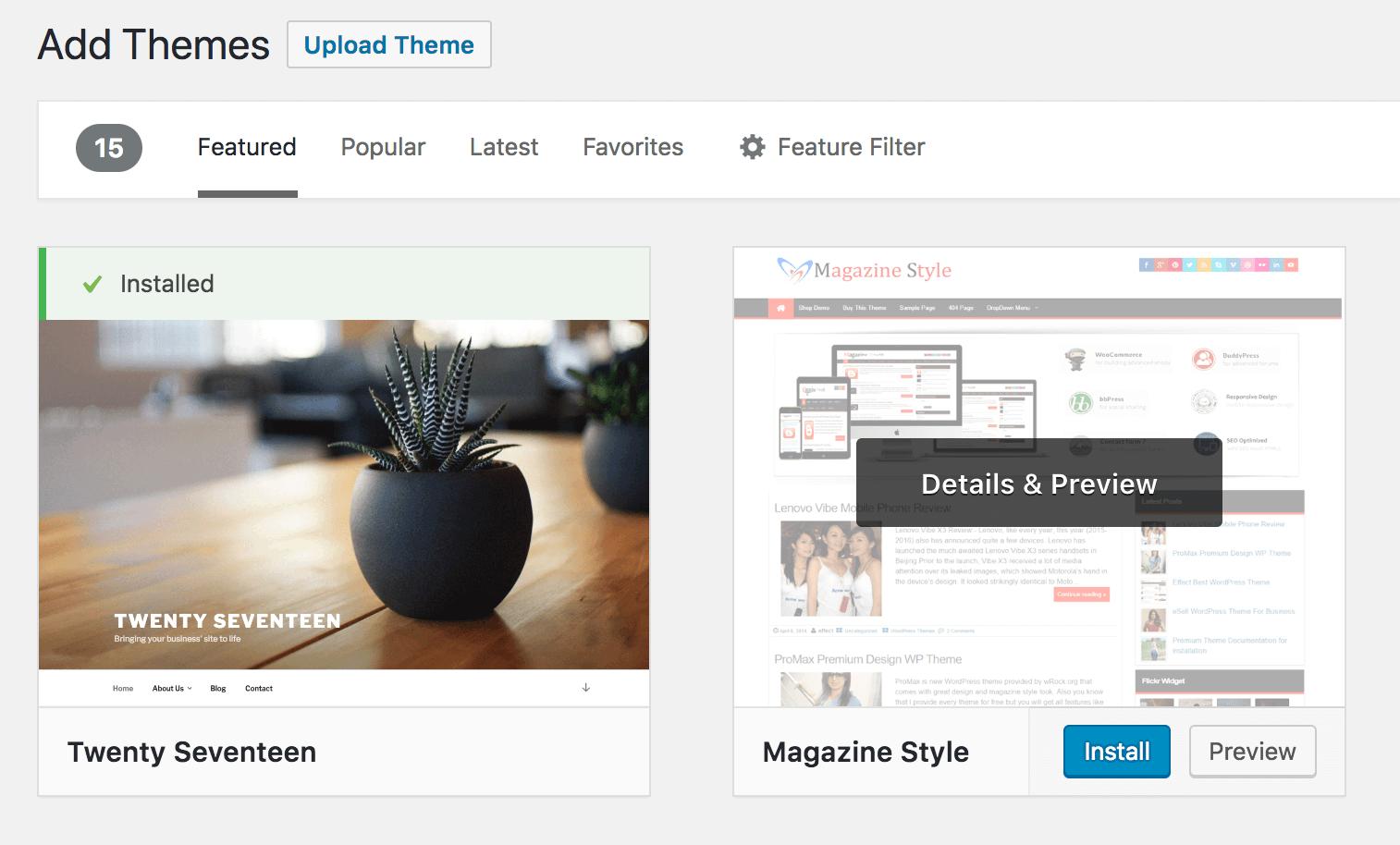 Installing a new WordPress theme.