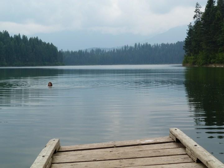 Swimming in Lake Cleland