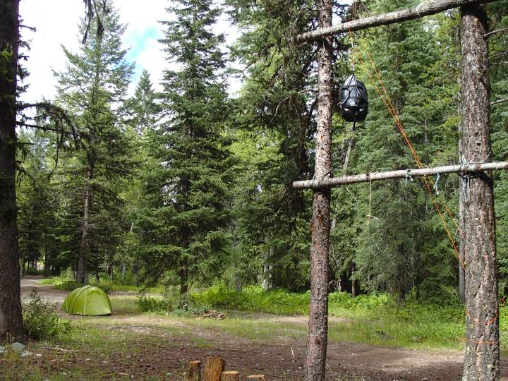 Camping at Pollock Creek and hanging our food out of reach of the bears