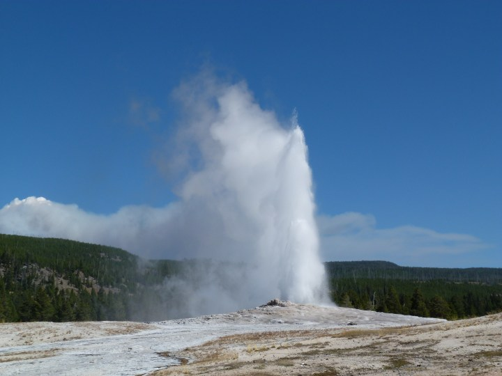 And of course Old Faithful, with its timed display and benches full of hundreds of onlookers.